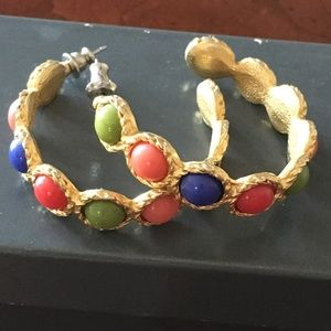 Gold hoops with multiple colored faux stones